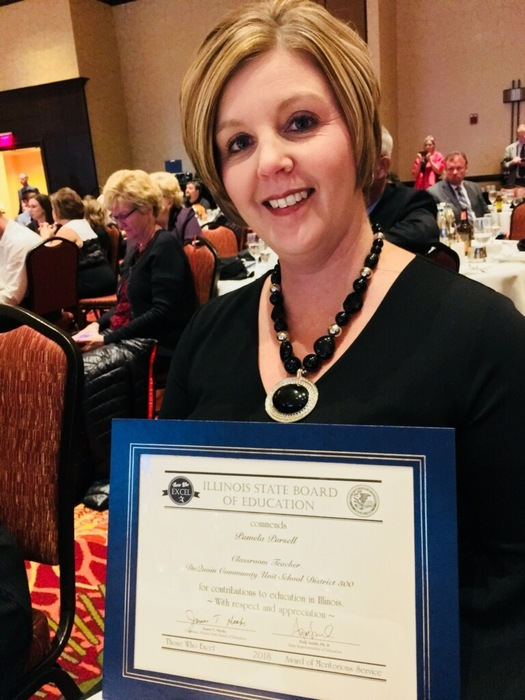 Congratulations to Mrs. Pam Pursell for being recognized by the Illinois State Board of Education as one of the States outstanding teachers.  We are lucky to have Mrs. Pursell, she's an amazing teacher.