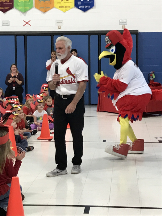 Cardinal announcer Al Hrabosky and Fredbird with elementary students.