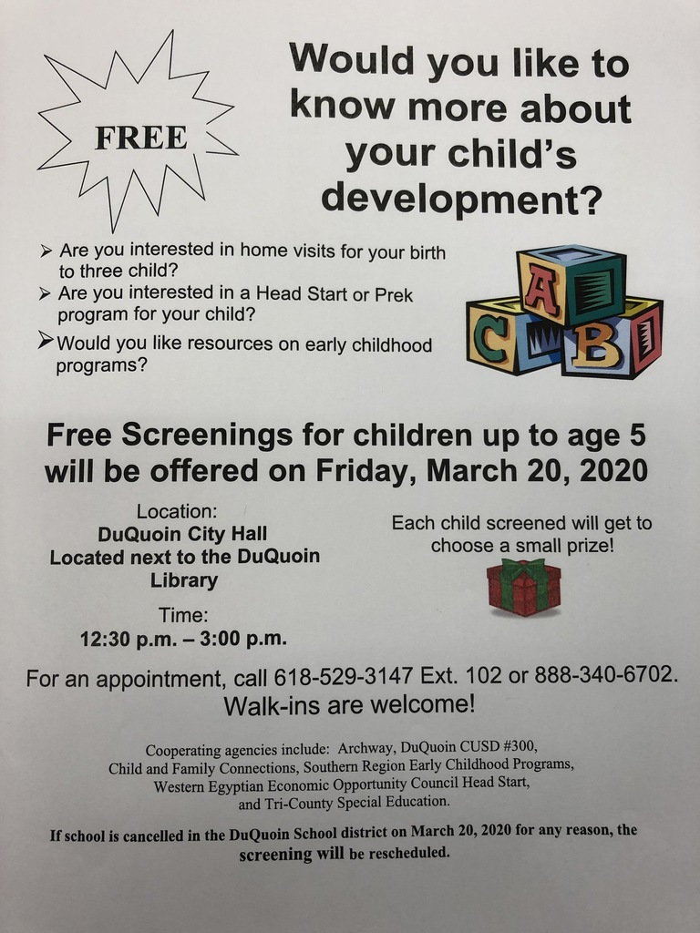 Free child screening flyer